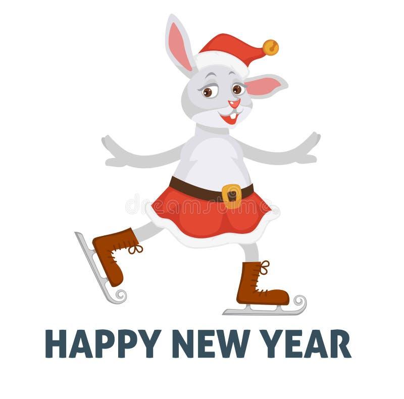 Szczęśliwy nowego roku plakat, królik na jeździć na łyżwach lodowego lodowisko ilustracja wektor