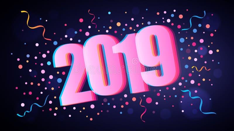 Szczęśliwy 2019 nowego roku pokrywa się liczby z kolorowymi round confetti royalty ilustracja