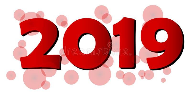 Szczęśliwy 2019 nowego roku powitania bąbla czerwony projekt ilustracja wektor