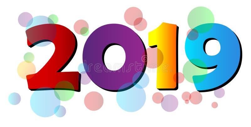 Szczęśliwy 2019 nowego roku powitania bąbla kolorowy projekt ilustracji