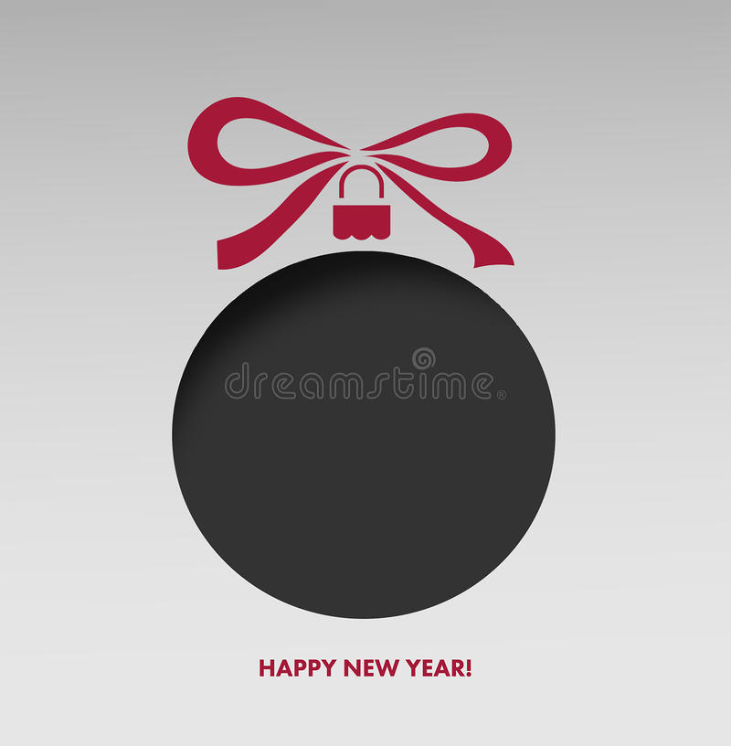 Szczęśliwy nowego roku powitanie z bauble royalty ilustracja