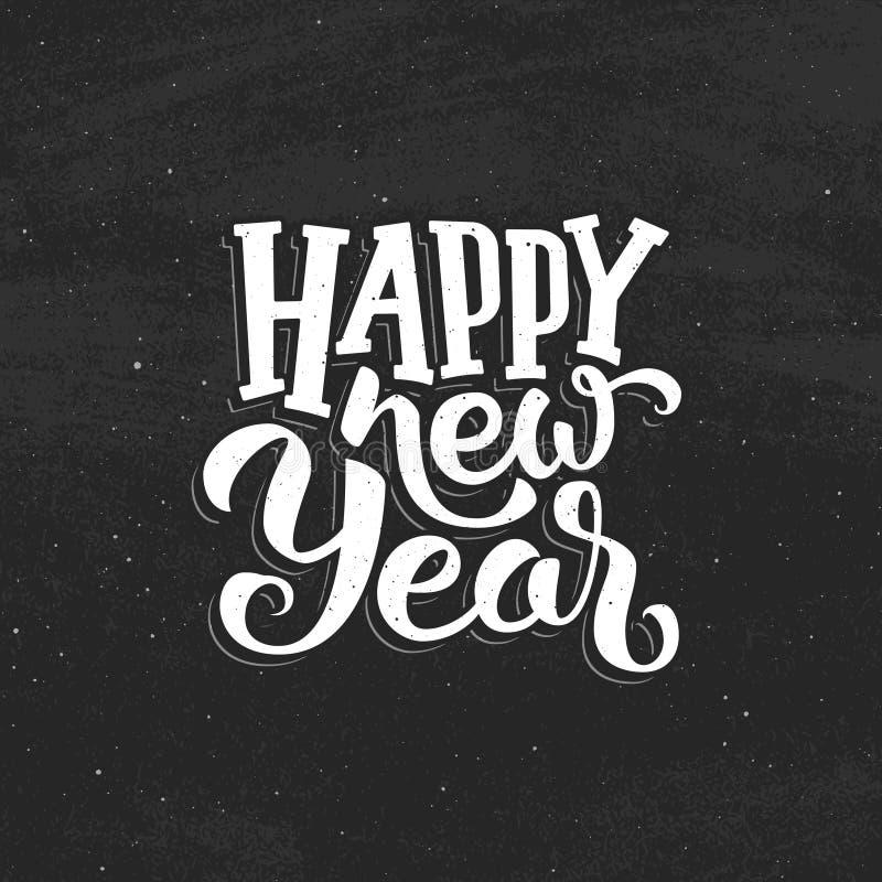 Szczęśliwy nowego roku rocznika wektoru kartka z pozdrowieniami ilustracji