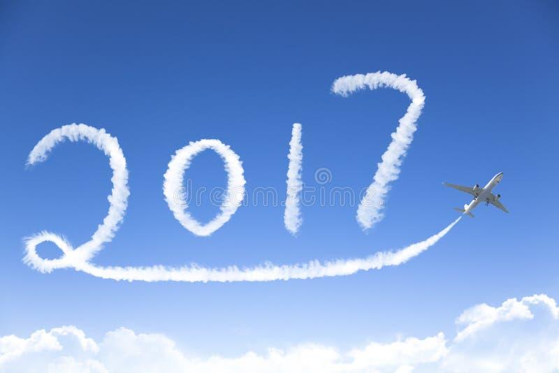 Szczęśliwy nowego roku 2017 rysunek samolotem zdjęcia royalty free
