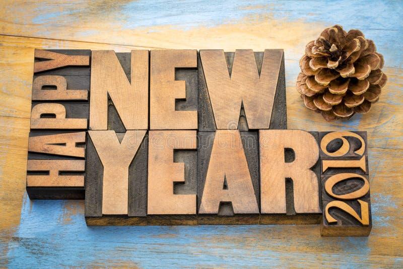 Szczęśliwy nowego roku 2019 słowa abstrakt w drewnianym typ obrazy royalty free