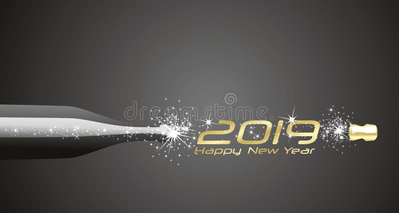Szczęśliwy nowego roku 2019 szampan gulgocze fajerwerku złocistego czarnego abstrakcjonistycznego tło ilustracja wektor