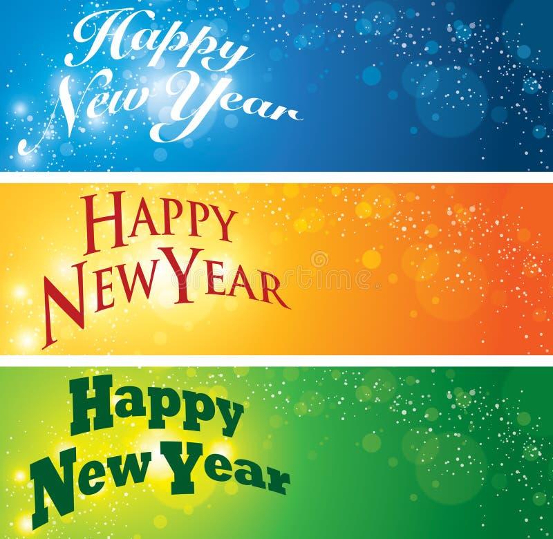 Szczęśliwy nowego roku sztandar ilustracja wektor