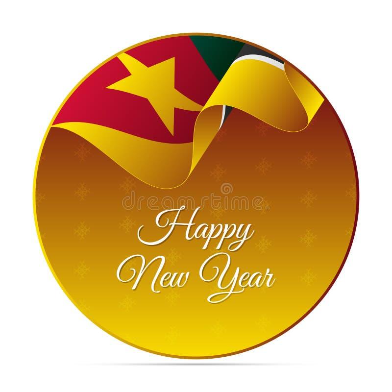 Szczęśliwy nowego roku sztandar, majcher lub Mozambik falowania flaga tła dekoracyjnego projekta graficzny ilustracyjny płatków ś ilustracji
