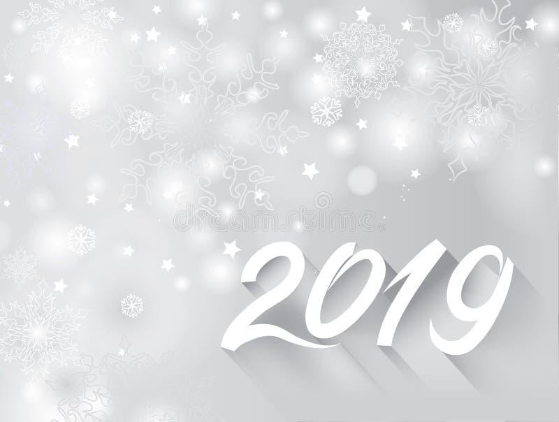 Szczęśliwy nowego roku 2019 sztandar nad śnieżnym rozmytym zima wakacje backg royalty ilustracja
