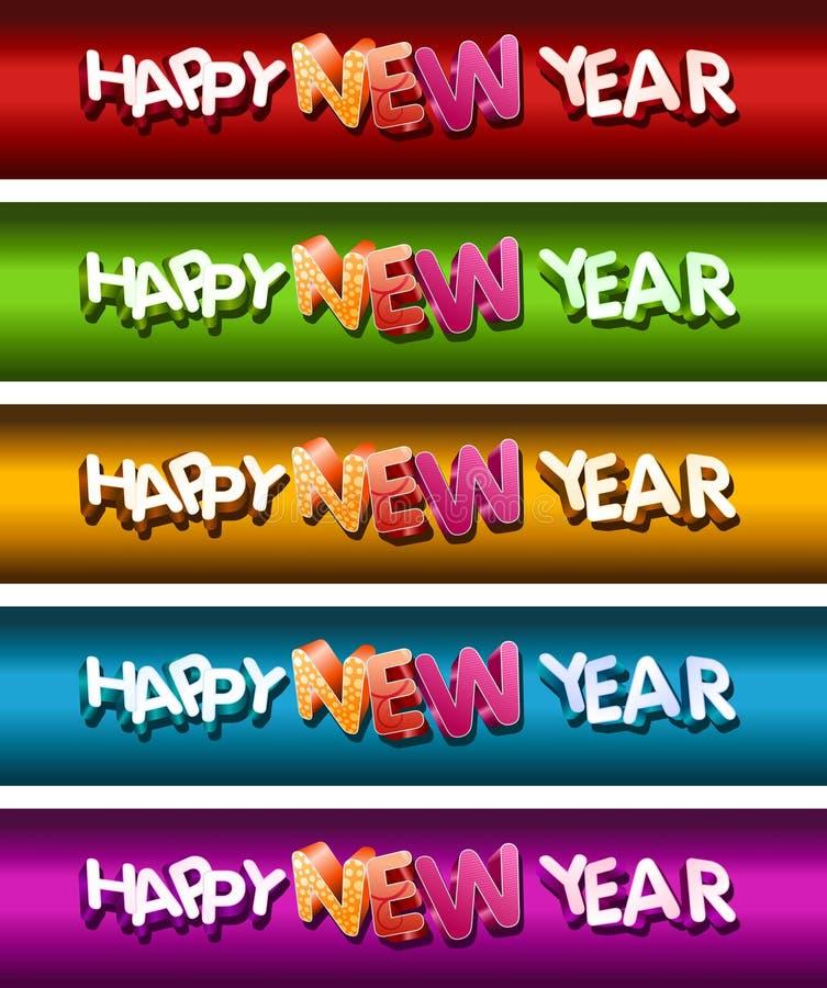 Szczęśliwy Nowego Roku Sztandaru Set. ilustracja wektor