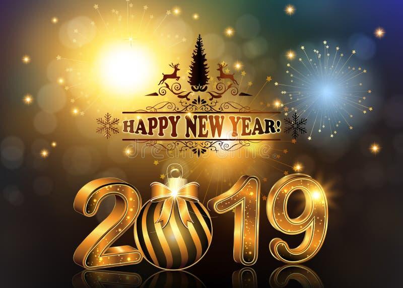 Szczęśliwy nowego roku 2019 tło, kartka z pozdrowieniami dla firm/ ilustracja wektor