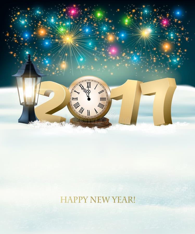 Szczęśliwy nowego roku 2017 tło z fajerwerkami royalty ilustracja