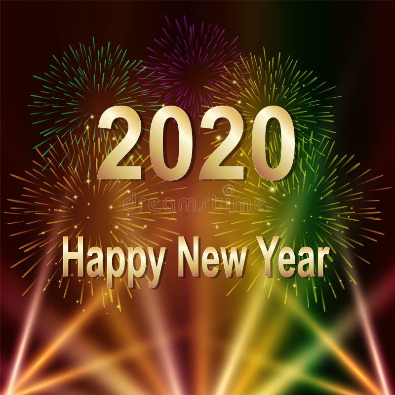 Szczęśliwy nowego roku 2020 tekst z fajerwerkami i lekkim kolorowym ilustracyjnym tłem ilustracji