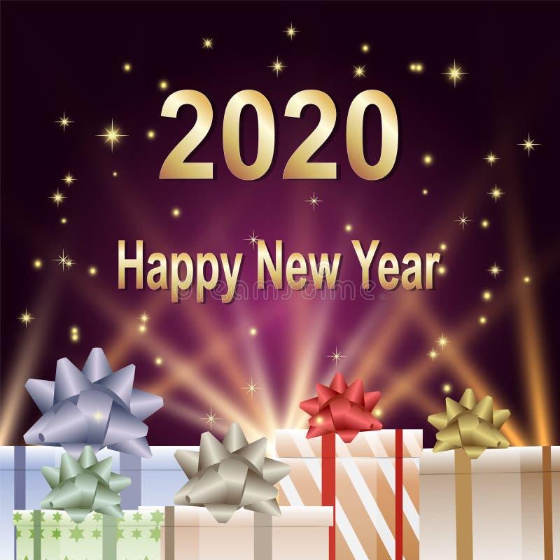 Szczęśliwy nowego roku 2020 tekst z prezentów pudełkami i jarzeniowym ilustracyjnym tłem royalty ilustracja