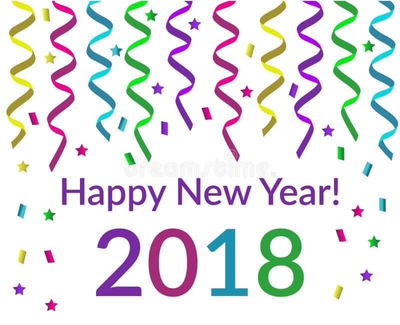 Szczęśliwy nowego roku tekst z różową fiołkową żółtą zielenią i błękitem royalty ilustracja