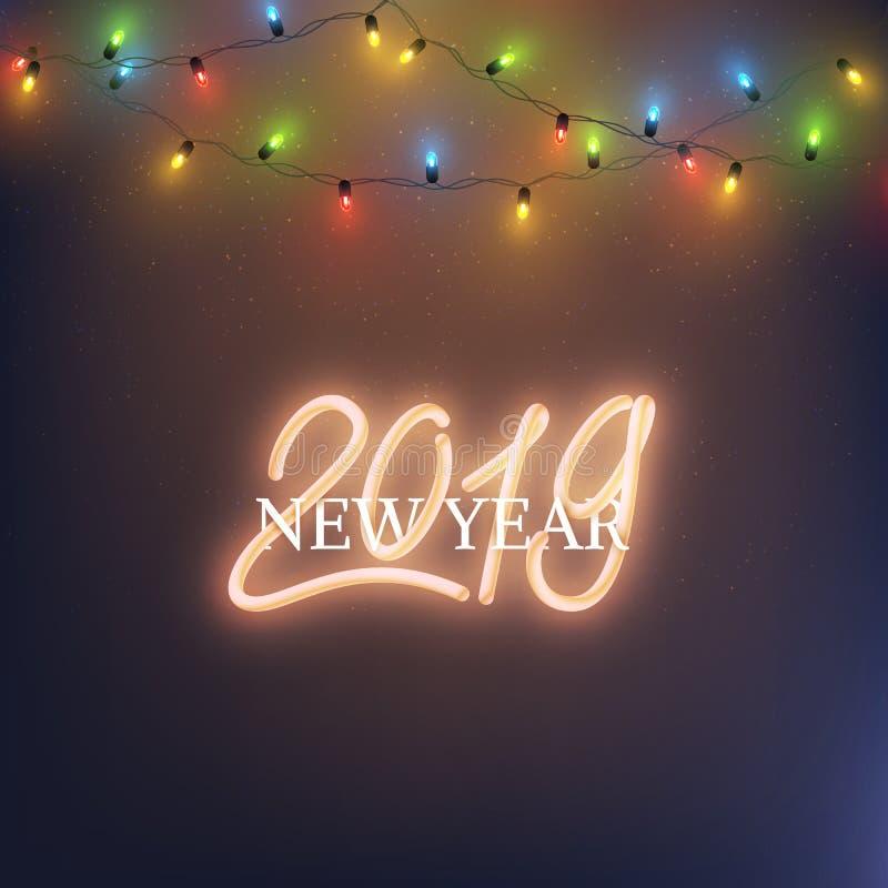 Szczęśliwy 2019 nowego roku teksta neonowy projekt prowadził lampowego połysku wianek, vect ilustracji