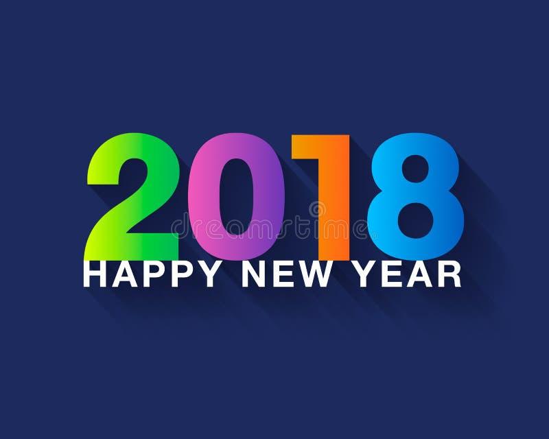 Szczęśliwy nowego roku teksta 2018 projekt Kolorowy nowożytny tekst z długim ilustracja wektor