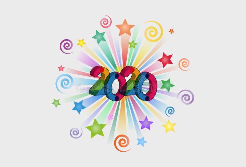 Szczęśliwy nowego roku teksta skutka 2020 PNG obraz stock