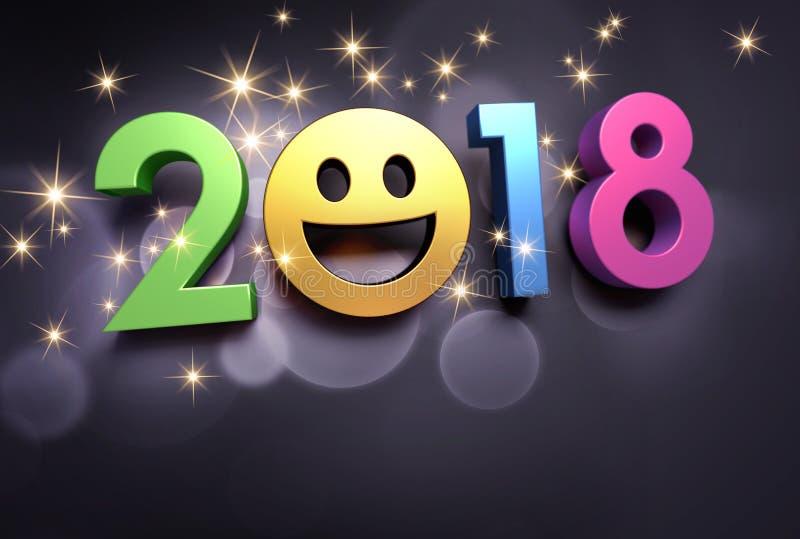 Szczęśliwy 2018 nowego roku uśmiechnięty kartka z pozdrowieniami royalty ilustracja