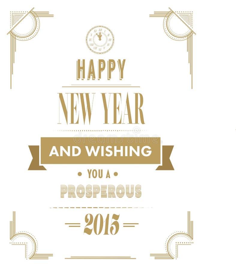 Szczęśliwy nowego roku wektor w art deco stylu royalty ilustracja