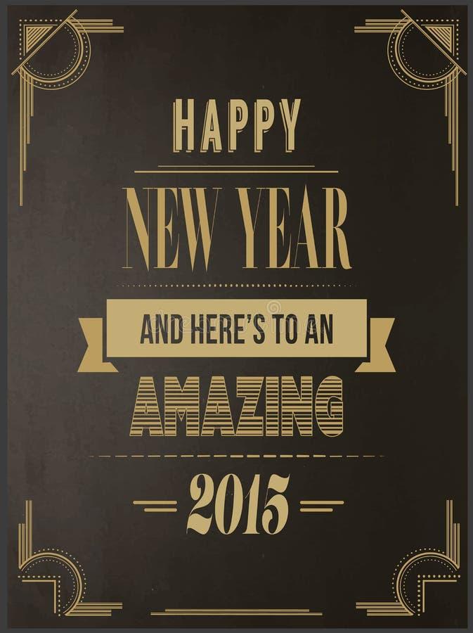 Szczęśliwy nowego roku wektor w art deco stylu ilustracji