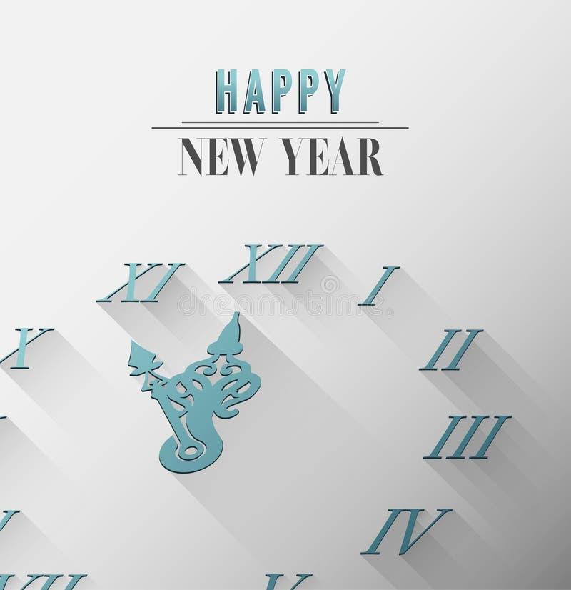 Szczęśliwy nowego roku wektor z zegarem royalty ilustracja