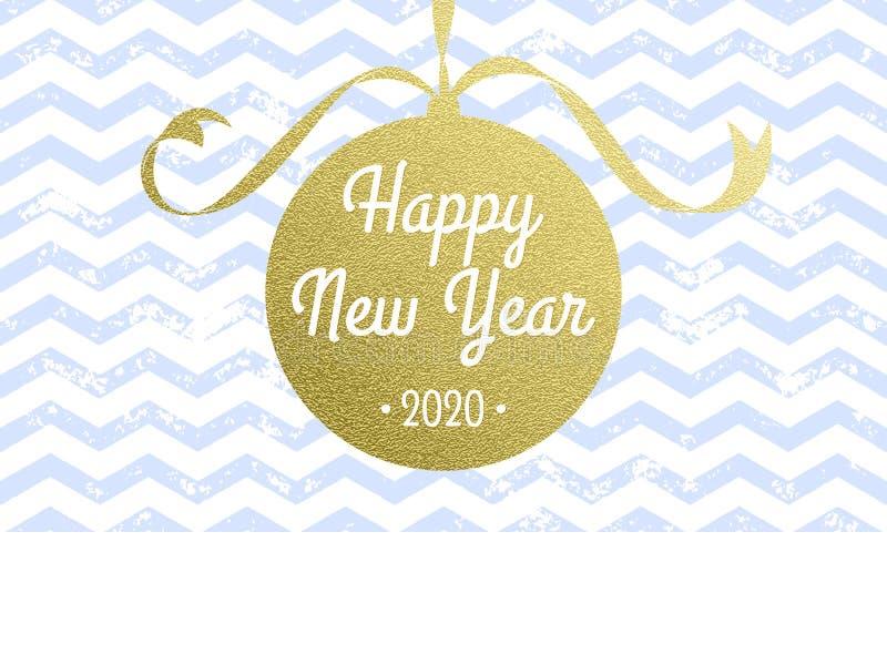 Szczęśliwy 2020 nowego roku wektorowa kartka z pozdrowieniami wektorowa choinki złocistej folii dekoracja na bielu wzoru tle royalty ilustracja