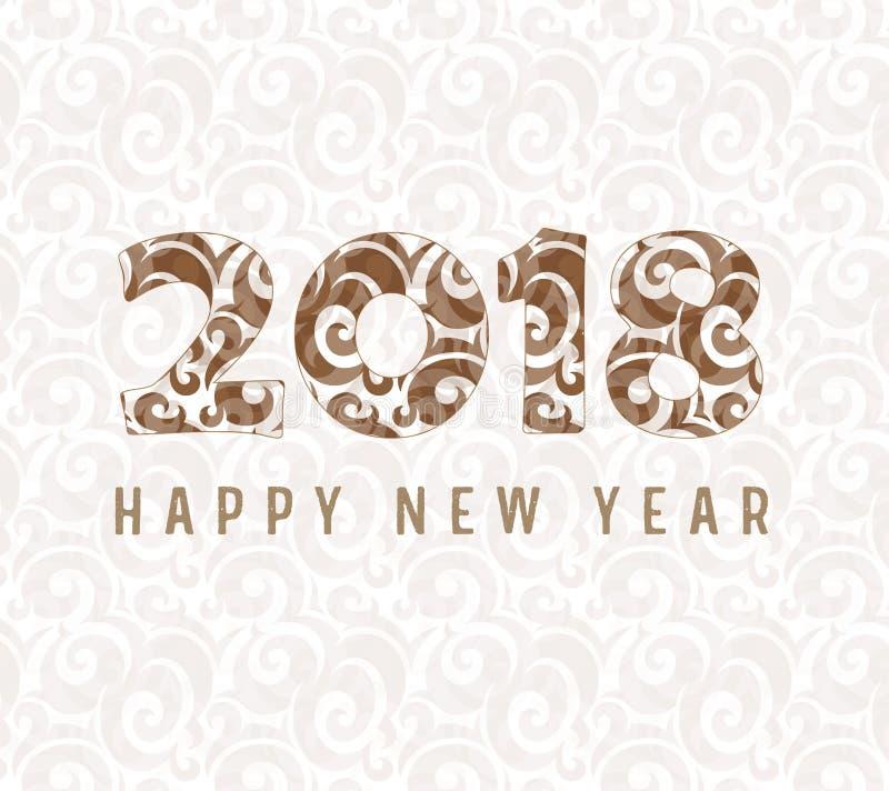 Szczęśliwy 2018 nowego roku wektorowy ilulustration ilustracji