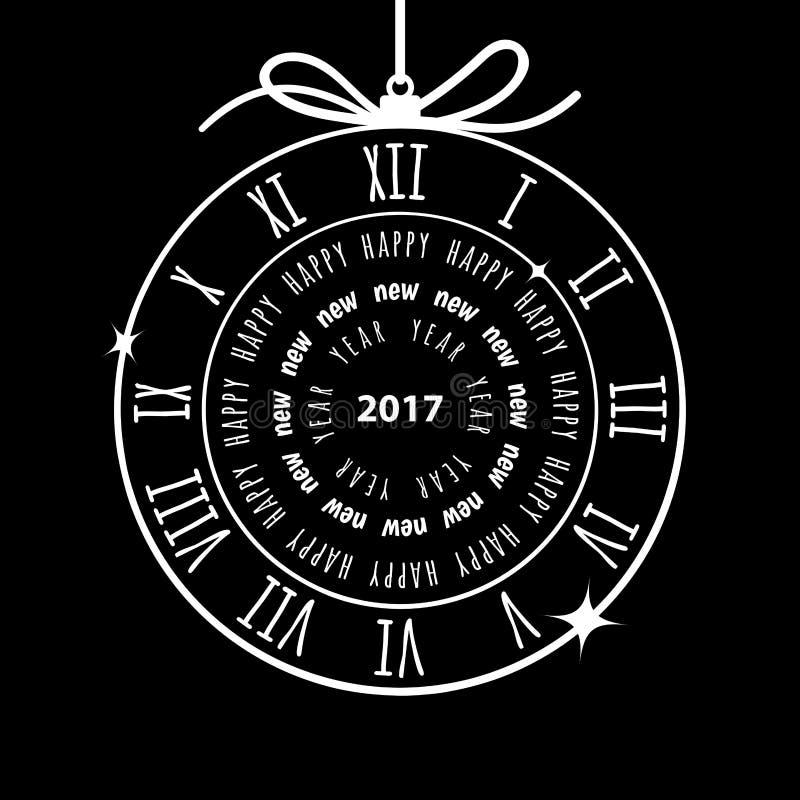 Szczęśliwy 2017 nowego roku wektorowy kartka z pozdrowieniami royalty ilustracja