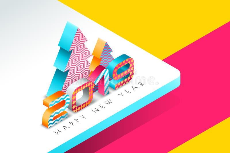 Szczęśliwy 2019 nowego roku wektorowy kartka z pozdrowieniami z multicolor choinką w 3d isometric stylu i liczbami fotografia royalty free
