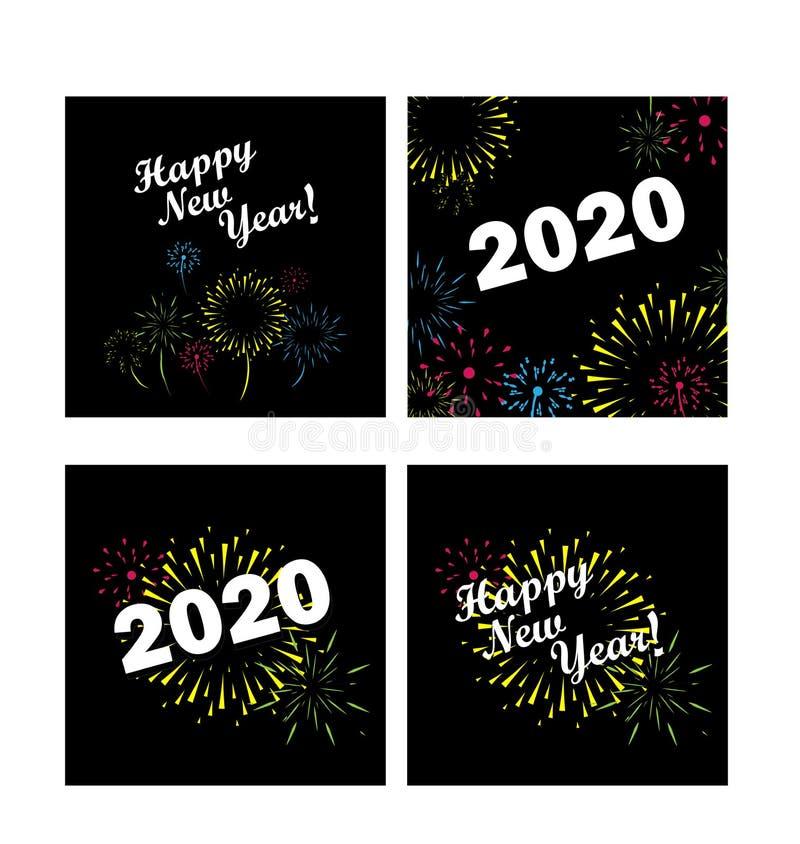 Szczęśliwy nowego roku 2020 wektorowy ustawiający z fajerwerkami fotografia stock