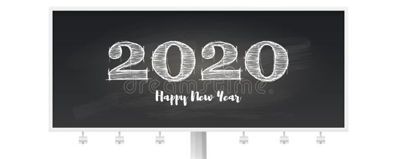 Szczęśliwy 2020 nowego roku wita plakat Ręcznie pisany tekst na billboardzie Elegancki retro literowanie dla świętowania boże nar ilustracji