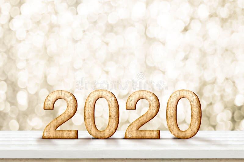 Szczęśliwy 2020 nowego roku złocisty glansowany 3d rendering na białym drewno stole z iskrzastą złocistą bokeh ścianą, sztandar d obraz stock
