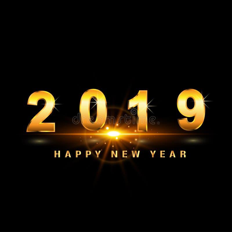 Szczęśliwy nowego roku 2019 złoto z tło skutkiem ilustracja wektor