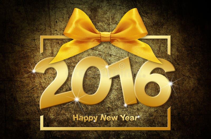 Szczęśliwy 2016 nowego roku złoty tekst z pudełkiem i faborkiem ilustracja wektor