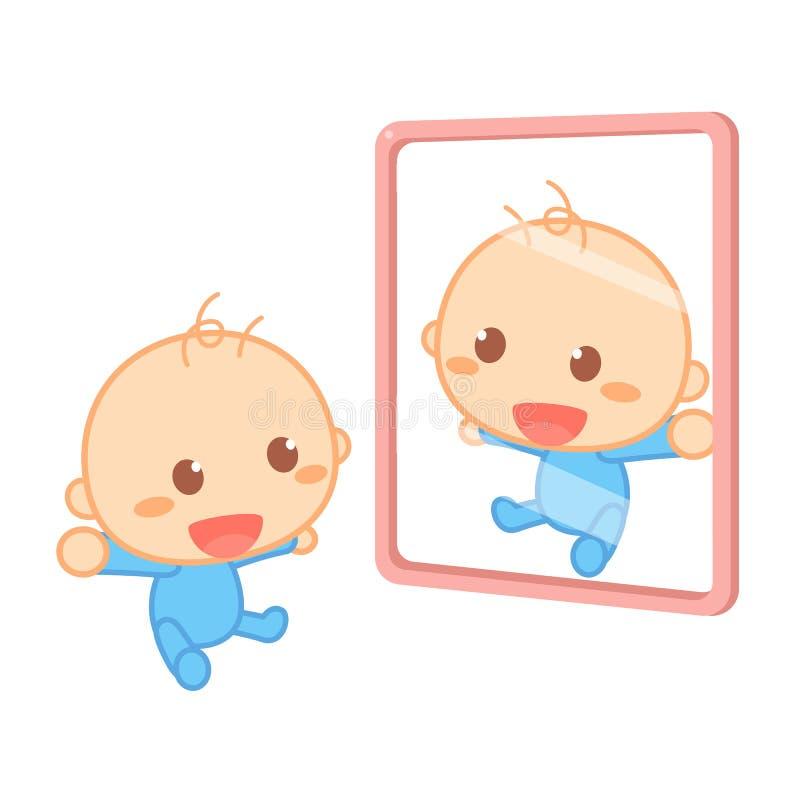 Szczęśliwy nowonarodzony dziecko jest uśmiechnięty przed lustrem royalty ilustracja