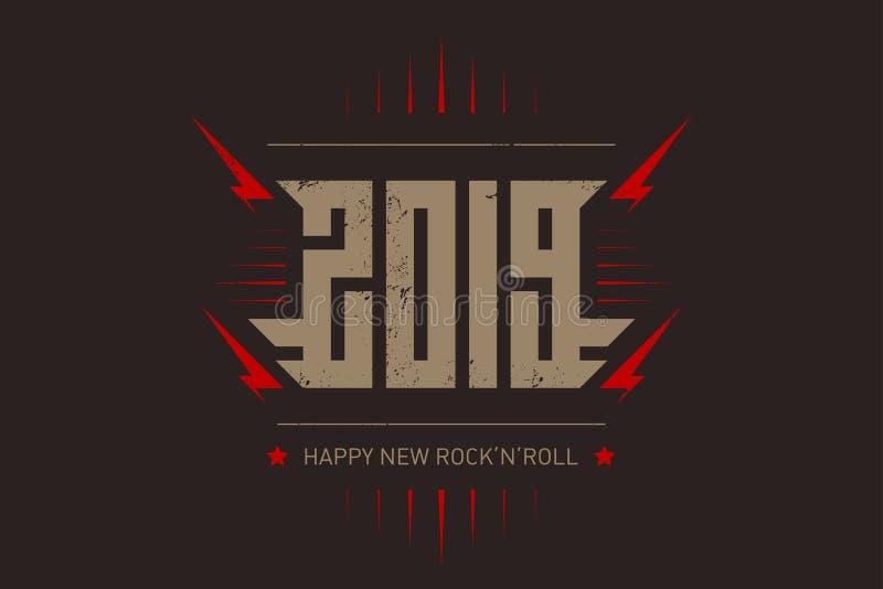 Szczęśliwy Nowy rock and roll - muzyczny plakat z stylizowaną inskrypcją, czerwonymi błyskawicami i gwiazdą, r royalty ilustracja