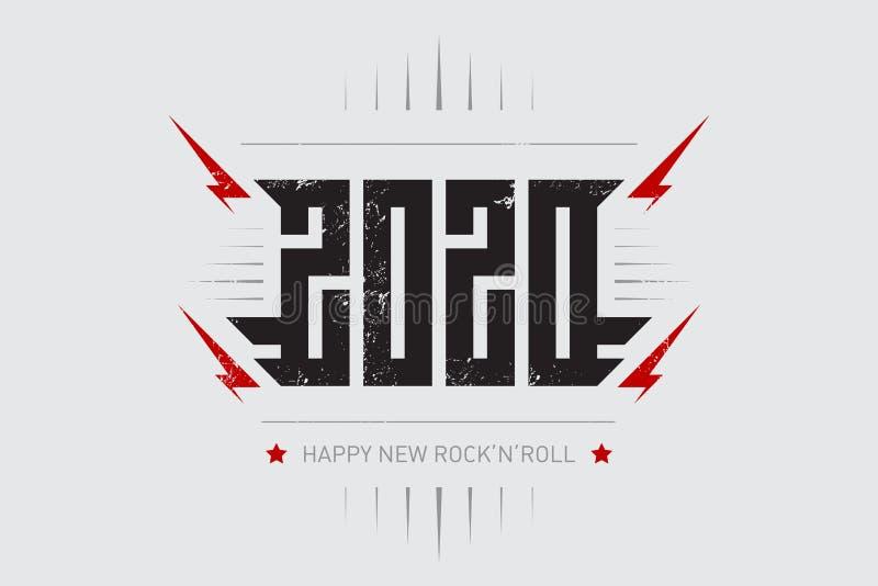 Szczęśliwy Nowy rock and roll 2020 - muzyczny plakat z stylizowaną inskrypcją, czerwonymi błyskawicami i gwiazdą, r ilustracja wektor