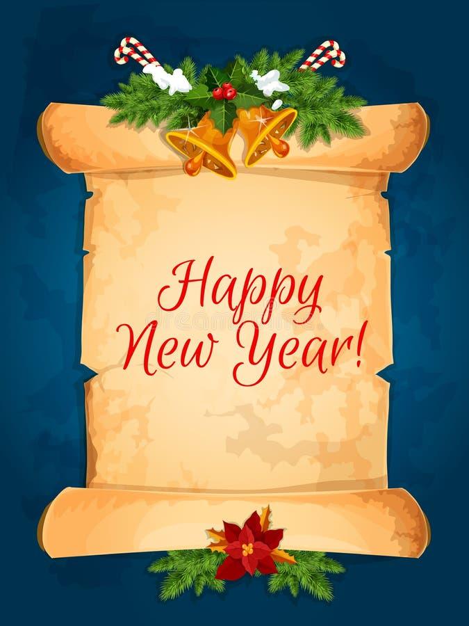 Szczęśliwy nowy rok życzy z ślimacznicą ilustracja wektor