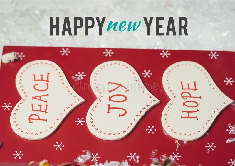Szczęśliwy nowy rok życzy z wiadomością pokój, radość i nadzieja, ilustracja wektor