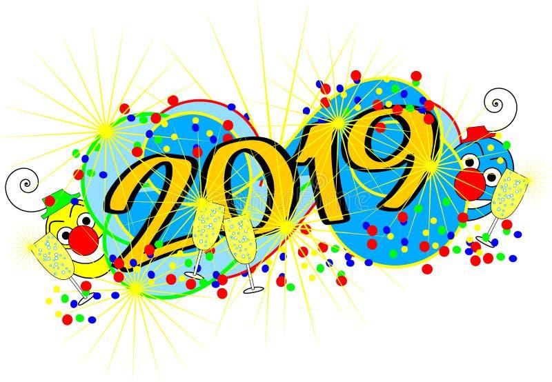 2019 - szczęśliwy nowy rok ilustracja wektor
