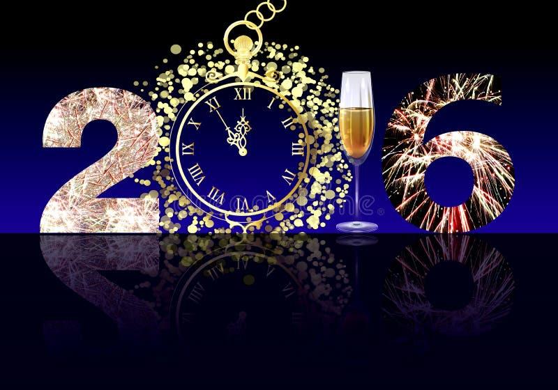 Szczęśliwy nowy rok 2016 ilustracji