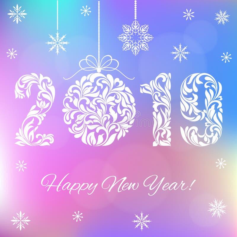 Szczęśliwy nowy rok 2019 Biel liczby i Bożenarodzeniowa piłka na holograficznym tle ilustracja wektor