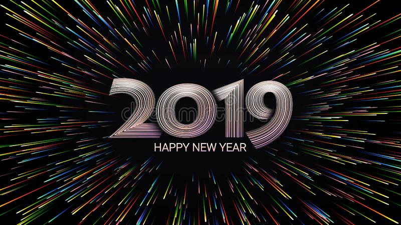 Szczęśliwy nowy rok 2019 Boże Narodzenia Kolorów fajerwerki Abstrakcjonistyczny skład w postaci światła słonecznego royalty ilustracja
