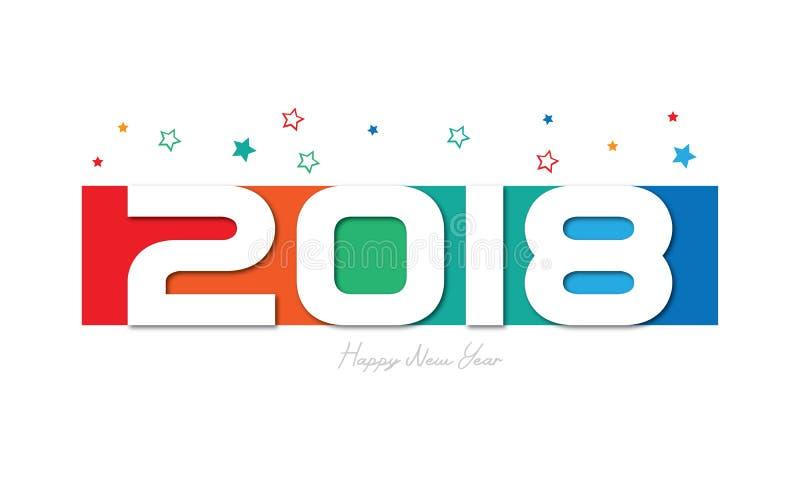 Szczęśliwy nowy rok 2018 Colorfull ilustracja wektor