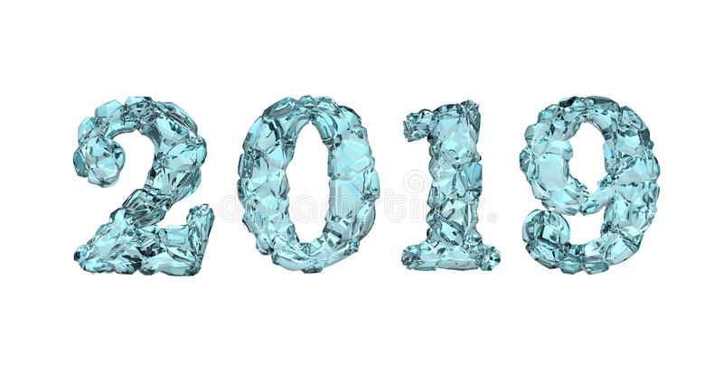 Szczęśliwy nowy rok 2019, 3D rendering zdjęcia stock