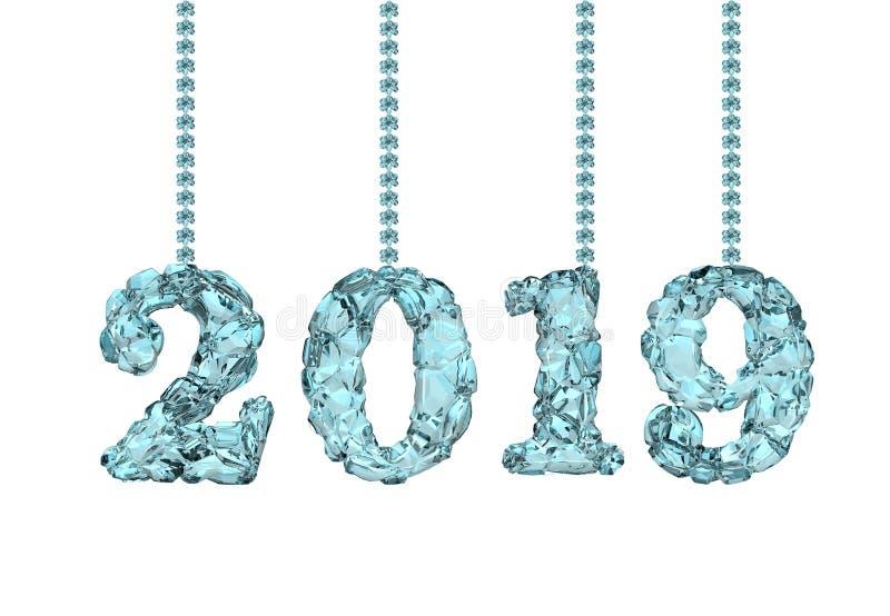 Szczęśliwy nowy rok 2019, 3D rendering zdjęcie stock