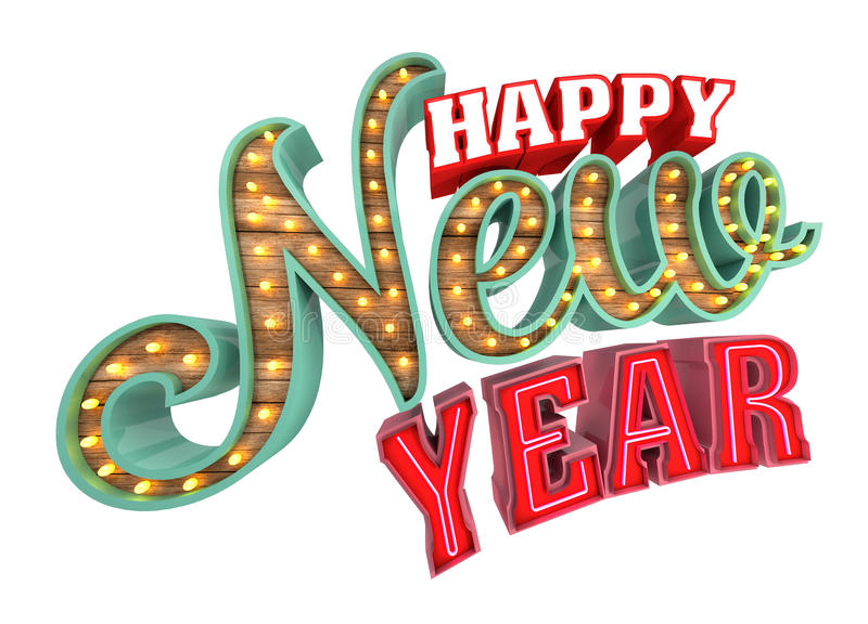 Szczęśliwy nowy rok, 3d rendering odizolowywający na białym tle royalty ilustracja