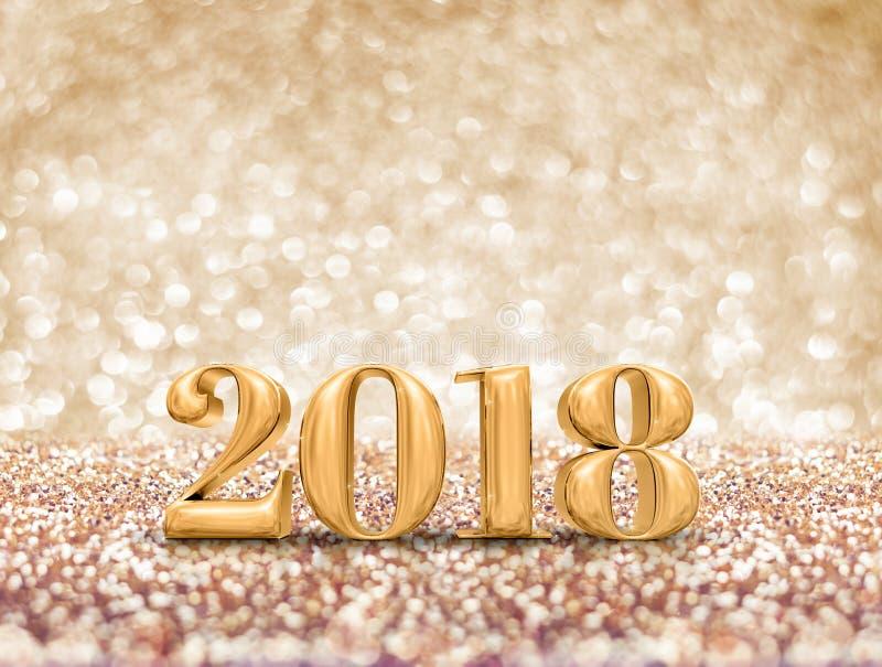 Szczęśliwy nowy rok 2018 3d roku złota liczby rendering przy sparkli ilustracja wektor