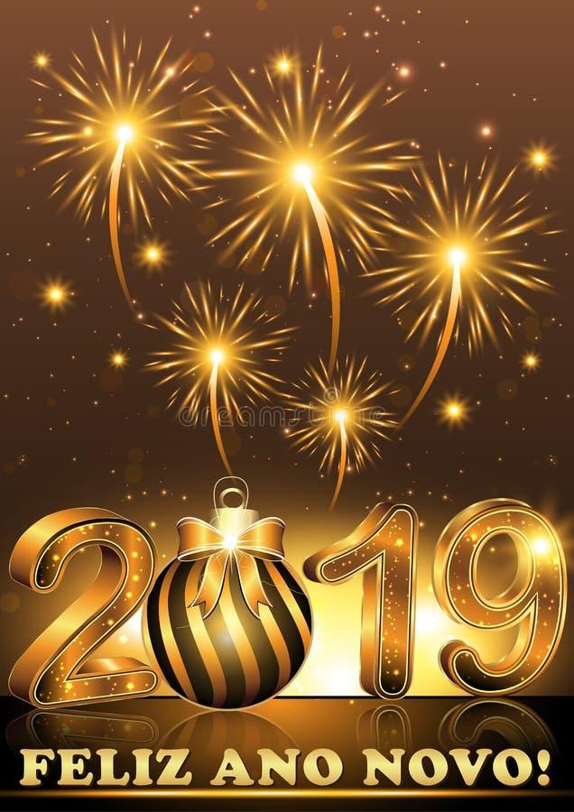 Szczęśliwy nowy rok 2019 - elegancka brąz kartka z pozdrowieniami z Portugalskim tekstem royalty ilustracja