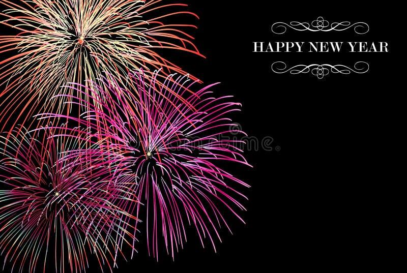 Szczęśliwy nowy rok fajerwerków tło ilustracja wektor
